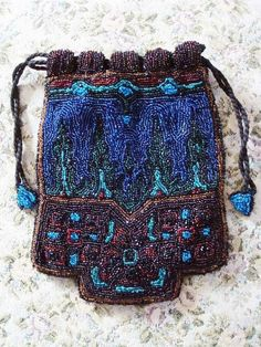 1920s Cobalt and Torquoise Microbeaded Flapper Evening Bag Purse Art Deco.