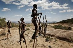Mursi Kids Line Up to Beg on Unfinished Highway into the Omo Valley