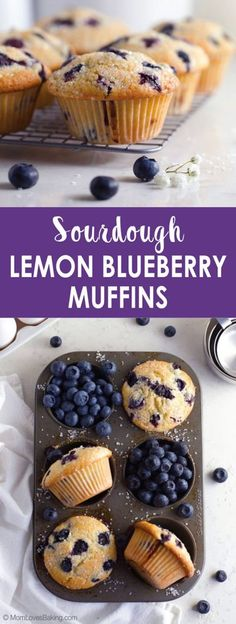 Sourdough Lemon Blueberry Muffins - a delicious way to use your sourdough discard. Find the recipe on MomLovesBaking.com. #sourdough #discard #blueberry #muffins #recipe