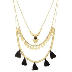 Forever 21 Layered Tassel Necklace ($9.90) ❤ liked on Polyvore featuring jewelry, necklaces, accessories, collares, layered jewelry, pendant necklace, collar necklace, double layer necklace and collar jewelry
