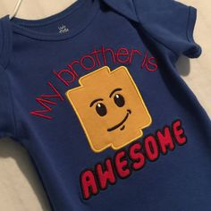 Big brother shirt - little sister tee - bro sis Lego inspired creeper or T Shirt - choose the text & color shirt Appliqued custom embroidery