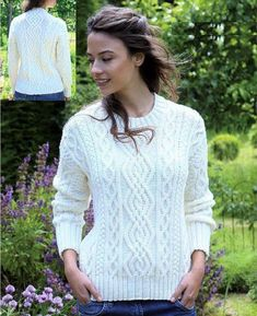 Gorgeous Aran Sweater / Aran Jumper is a clear PDF instruction of a vintage pattern Easy to follow, Row by Row and great print You also receive attached a conversion chart for materials, needle sizes and yarn FREE Uses CHUNKY/Aran yarn with recommended 5mm needles (US 7) 5 SIZES ---------- CHEST Free Aran Knitting Patterns, Jumper Knitting Pattern, Jumper Patterns, Free Knitting, Knitting Ideas, Aran Jumper, Aran Sweaters, Pull Torsadé, Vogue Knitting