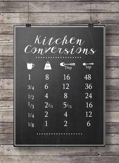 Kitchen conversions chart - chalkboard kitchen measurements sheet -  Printable wall art  - Kitchen decor -  Instant download digital print by SouthPacific on Etsy https://www.etsy.com/listing/239560994/kitchen-conversions-chart-chalkboard