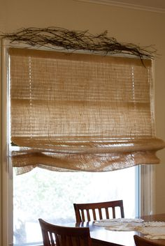 The answer to renters stuck with ugly mini blinds? | DIY Burlap Roman Shade Over Mini Blinds