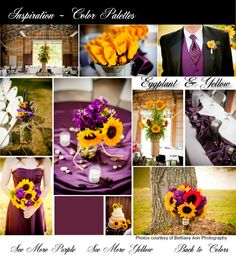 Yellow & Purple wedding decor. Purple flowers, bridesmaid dresses. Yellow flowers. Red flowers. Country Chic Wedding. Wedding Reception in a barn. Mason Jar Decor.@Jessica Aungst @Andi Elaine