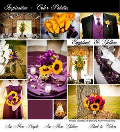 Yellow & Purple wedding decor. Purple flowers, bridesmaid dresses. Yellow flowers. Red flowers. Country Chic Wedding. Wedding Reception in a barn. Mason Jar Decor. @Christal Neumann