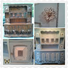 Buffet and hutch makeover painted with Annie Sloan's chalk paint in Louis Blue and Pure White. Visit us on Facebook https://www.facebook.com/RonisRescuedRelics for more makeovers.