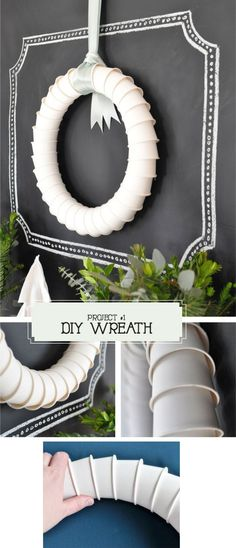 DIY - Paper Cup Wreath - Full Step-by-Step Tutorial. This wreath has 32 4oz. espresso cups, hot glue and ribbon. Simple DIY. Project found on Page 148 of Utterly Engaged Magazine.