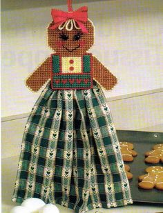 Gingerbread girl towel topper christmas plastic canvas pattern instructions only Plastic Canvas Ornaments, Plastic Canvas Crafts, Plastic Canvas Patterns, Man Crafts, Crafts For Girls, Wood Crafts, Towel Girl, Clear Plastic Sheets, Plastic Canvas Christmas