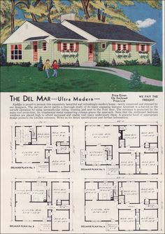 """The Del Mar - Aladdin Homes. According to the description this is """"Ultra Modern"""" for Vintage House Plans, Vintage Homes, Looking For Houses, Suburban House, Vintage Architecture, Brick Facade, Ranch Style Homes, Traditional House, Minimal Traditional"""