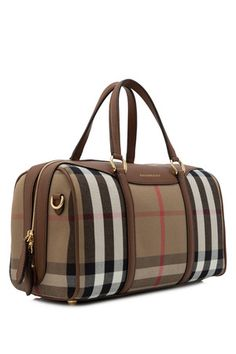 db065aa32647 Burberry House Check Derby Leather Medium Alchester Bowling Bag Bowling Bags