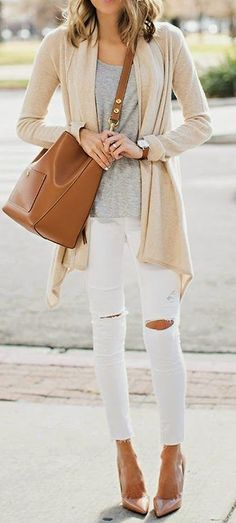 Want to add more light neutrals to my wardrobe. Light jeans + t-shirt + cardigan or sundress + cardigan = so many options