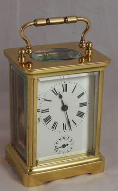French alarm carriage clock Mantel Clocks, Old Clocks, Antique Clocks, Antique Dressers, Handmade Lampshades, Classic Clocks, Carriage Clocks, Clock Shop, Retro Clock