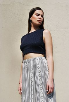 """Tree Life"" maxi skirt and ""Hope"" blue crop top with open back"