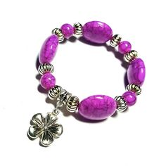 Only $6.99! - SALE Purple Puffed Oval & Round Crackled Design Beaded Stretch Bracelet w/Silver Lily Flower Charm & Metallic Ribbed Rondelle Bead  Spacers FREE USA SHIPPING https://www.etsy.com/listing/286383677/sale-purple-puffed-oval-round-crackled