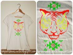 DIY aztec tiger t-shirt. Hand-painted