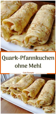 Quark pancakes without flour-Quark Pfannkuchen ohne Mehl I was not really convinced of this recipe, but I tried it and was pleasantly surprised. The pancakes were not sticky in the pan and could be rolled up easily. I have doubled the quantities. Quick Dessert Recipes, Easy Soup Recipes, Easy Cake Recipes, Easy Dinner Recipes, Vegetarian Recipes, Budget Recipes, Easy Chocolate Desserts, Chocolate Cake Recipe Easy, Low Carb Desserts