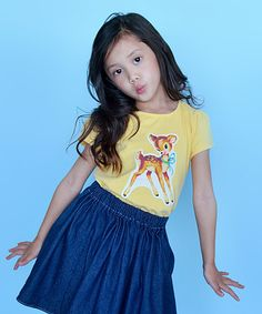 Yellow Retro Fawn Cap-Sleeve Tee - Infant, Toddler & Girls by Alejandra Kearl Designs #zulily #zulilyfinds