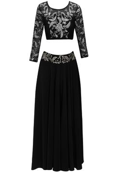 Black and silver floral embroidered lehenga set available only at Pernia's Pop-Up Shop.