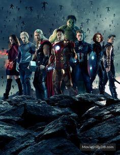 The Avengers: Age of Ultron promotional art with Scarlett Johansson, Mark Ruffalo, Robert Downey Jr., Chris Evans, Jeremy Renner, Chris Hemsworth, Elizabeth Olsen & Aaron Taylor-Johnson