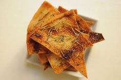 Rosemary Thyme Pita Chips- these are FANTASTIC!!! I suggest serving these with a Garlic Hummus. It is a flavorful delight!