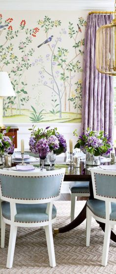 A beautiful dining room design by Ashley Whittaker Design that incorporates shades of lavender.