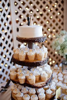 Rustic Wedding Cakes with Cupcakes Cupcake Stand Wedding, Wedding Cake Stands, Wedding Cupcakes, Cupcake Stands, Cupcake Tree, Cupcake Cakes, Cupcake Wrappers, Rustic Cupcakes, Rustic Cake Stands