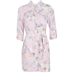 Boohoo Savannah Floral Shirt Dress | Boohoo ($21) ❤ liked on Polyvore featuring dresses, pink camisole, pink dress, t-shirt dresses, floral dresses and special occasion dresses