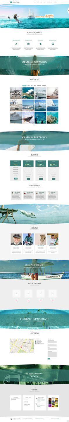 OceanPlaza WordPress Parallax Theme by Zizaza - design ocean , via Behance