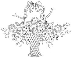 vintage embroidery patterns | Easy stitches were used throughout on this basket as well. The working ...