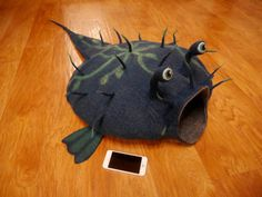 Cat house cat cave pet house cat bed pet bed blue by WoollyFish