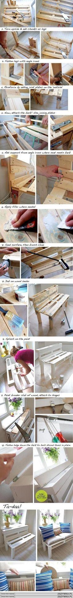 Jak z palety zrobić ławkę na działkę lub balkon :-):