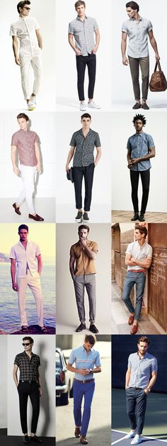 Men's Summer Short-Sleeved Shirt And Trousers Combination Outfit Inspiration Lookbook