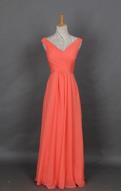 Chiffon Prom Dress, Coral Straps V-neck Long Prom Dress, Evening Dress, Party Dress on Etsy, $119.00