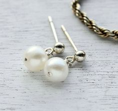 Classic, everyday pearl earrings, sterling silver studs  $22.00