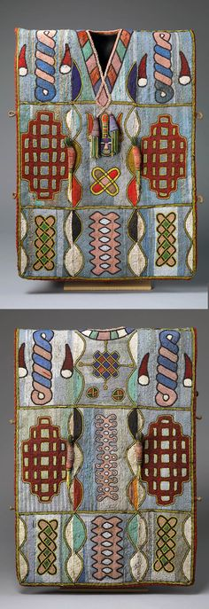 Africa | Royal tunic from the Yoruba people of Nigeria | Glass and stone beads (including jasper beads), fabric and thread | ca. Late 19th to early 20th century