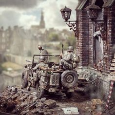 "jeep on broken street by ""Saints&Sinners"" diorama modeler Marcus Nieminen."