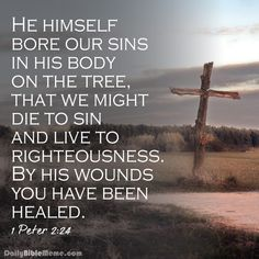 """1 Peter 2:24 """"He himself bore our sins in His body on the tree. That we might die to sin and live to righteousness. By His wounds you have been healed."""""""