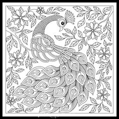Vintage hand drawn pattern black and white doodle peacock. sketch for adult antistress Peacock Coloring Pages, Bird Coloring Pages, Printable Coloring Pages, Coloring Books, Madhubani Art, Madhubani Painting, Peacock Drawing Images, Black And White Doodle, Free Adult Coloring