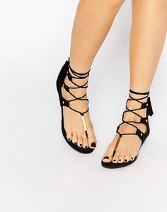 ALDO Jakki Black Gladiator Tassel Flat Sandals at ASOS. Aldo Sandals, Flat Gladiator Sandals, Sexy Sandals, Girls Sandals, T Strap Sandals, Black Sandals, Aldo Shoes, Pretty Sandals, Beautiful Sandals