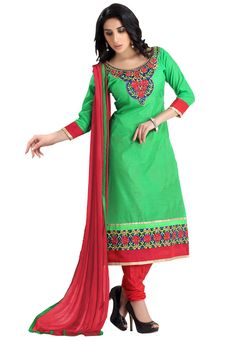 Glamorize your casual look with this enchanting salwar suit that embraces artistic embroidered work with alluring color shades