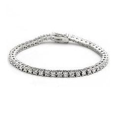 Sterling Silver 2mm Round Cubic Zirconia Prong Setting Tennis Bracelet  #Fashion, #Jewelry, #JewelryBracelets, #OverstockJeweler