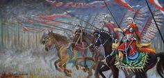 Husaria. Szarża. Polish Hussars. Obraz olejny 100x50 cm