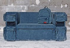 Gorgeous And Wonderful Blue Jeans Fabric Sofa Design With Many Pocket