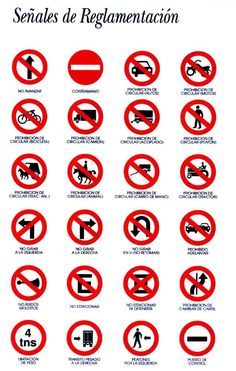 señales viales 1 Traffic Signs And Symbols, All Traffic Signs, Road Sign Meanings, Driving Signals, Learning To Drive Tips, Drivers Permit Test, Road Safety Poster, Driving Theory, Driving Tips