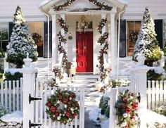 Small Town Charming...love the wreaths on the gate