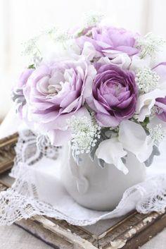 Floral Arrangement ~ purple, white
