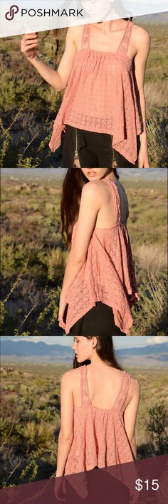 Staring At Stars Crochet Tank So perfectly feminine and sweet! This sheer, flowy tank features pointed angles and a mauve colored lovely Lacey look. Great condition! Urban Outfitters Tops Blouses