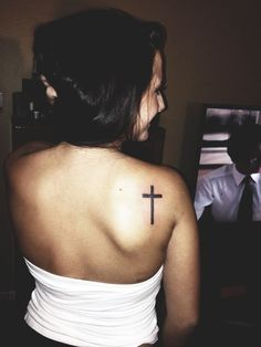 Back Shoulder Simple Cross Tattoo for Women