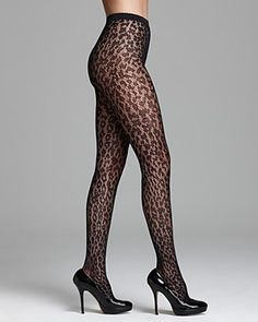 Lace tights with a leopard look Silk Stockings, Stockings Lingerie, Fashion Tights, Fashion Outfits, Thigh High Socks, Thigh Highs, Lace Tights, Stocking Tights, Great Legs